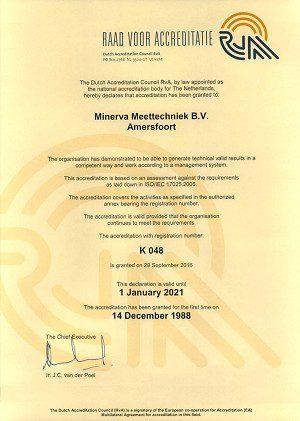 certificat d'étalonnage Minerva
